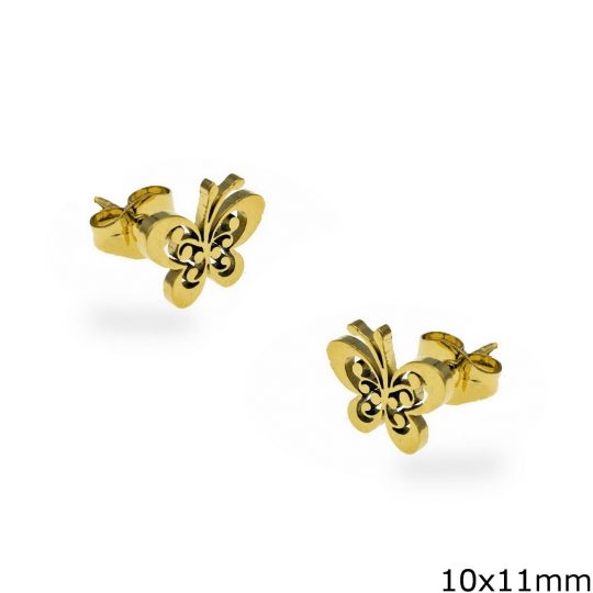 tiny butterfly stud earrings steel